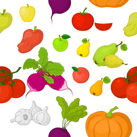cartoon tomato: Seamless background, various vegetables and fruits on white   Illustration
