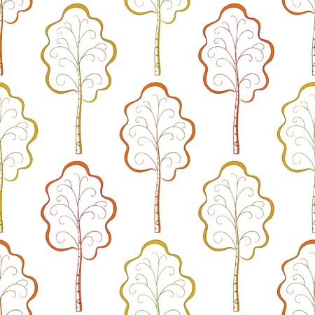 Abstract seamless background, autumn orange and yellow trees birches, pictograms   illustration Vector
