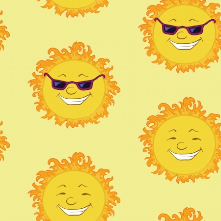 Seamless background, smiling cartoon character summer sun in sunglasses   illustration Stock Vector - 14653761