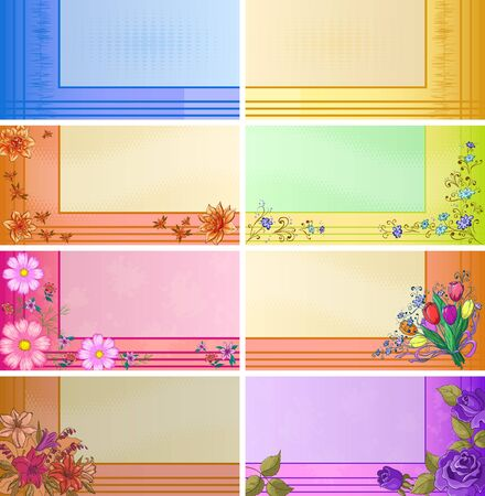 Set of business cards with various modern patterns and flowers   Vector
