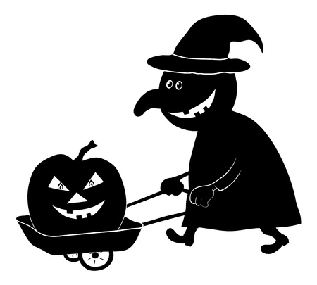 driven: Witch on a cart driven by a pumpkin, the image of a holiday Halloween, black silhouette on white background  Vector illustration Illustration
