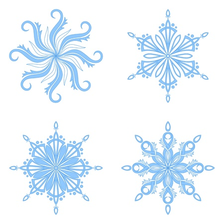 Christmas holiday decorating  set blue winter snowflakes on white background  illustration Vector