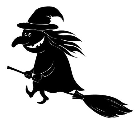 strega che vola: Strega di volo sulla scopa, l'immagine di una festa di Halloween, silhouette nera su sfondo bianco illustrazione