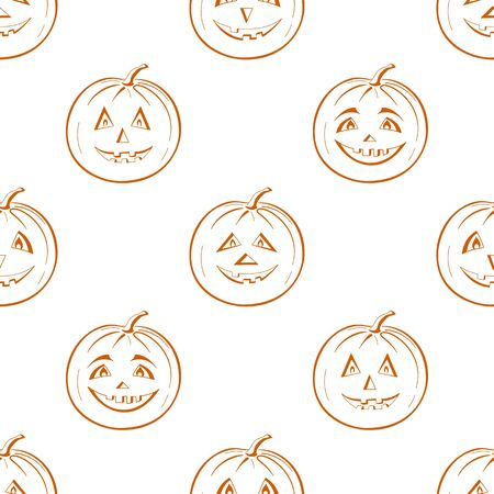 terribly: Seamless background, symbol of the holiday of Halloween pumpkins Jack O Lantern, symbolical pictograms isolated on white  Illustration