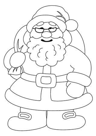 Christmas cartoon  Santa Claus with a bag of gifts, black contour on white background  Vector illustration Vector
