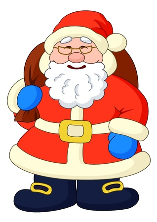 Christmas cartoon  Santa Claus with a bag of gifts  Vector illustration Vector