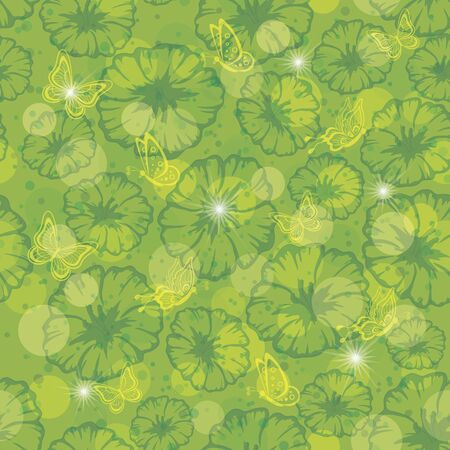 Abstract green - yellow seamless floral background  flowers, , circles and stars, contains transparencies Stock Vector - 14738419