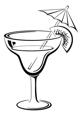 kiwi fruta: Vidrio con la bebida, el kiwi y la paja, pictograma simbólico, negro sobre fondo blanco Ilustración