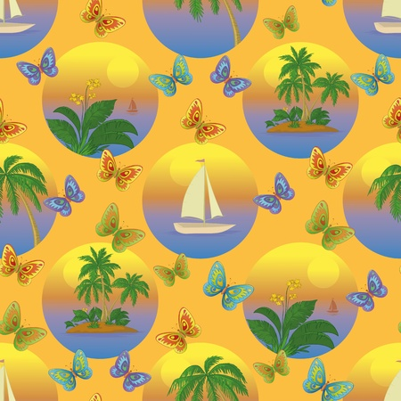 Seamless tropical background with a boat at sea, palms and flowers illustration Stock Vector - 14738456