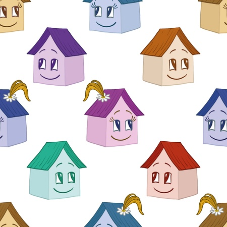 Seamless background, cartoon toy houses, girl and boy illustration Stock Vector - 14738462