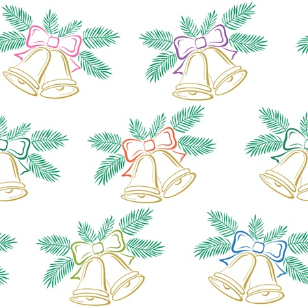 Seamless background, Christmas decoration  golden bells with bows and green fir branches, symbolical pictogram illustration Vector