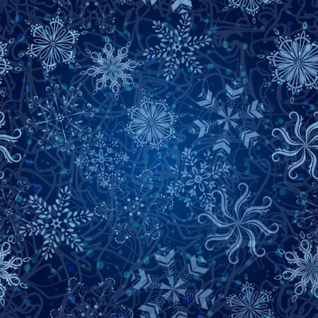 snow crystals: Seamless Christmas background  white snowflakes, curves and circles on blue Illustration