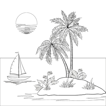 Ship, sun, tropical sea island with palm trees and flowers  Black contour on white background