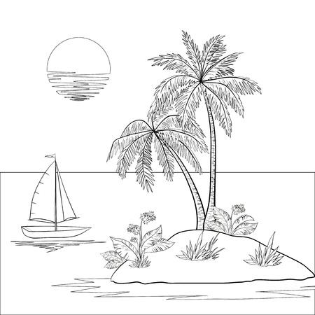 Schip, zon, tropische zee eiland met palmbomen en bloemen Zwarte contour op een witte achtergrond Stock Illustratie