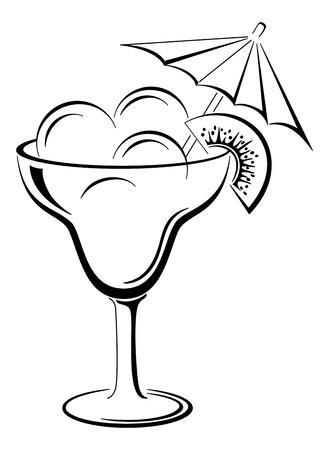 Glass vase with ice cream and kiwifruit, black contour on white background
