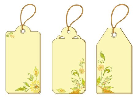 Set of labels tags with floral pattern and ropes   Vector