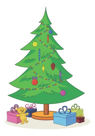 x mas: Cartoon, green Christmas tree with toys, teddy bear and gift boxes   Illustration