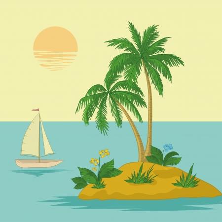 Schip, zon, tropische zee eiland met palmbomen en bloemen