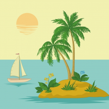 Ship, sun, tropical sea island with palm trees and flowers