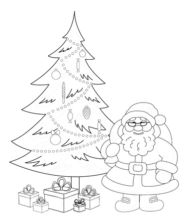 new year's cap: Cartoon  Santa Claus, Christmas holiday tree and gift boxes, black contour on white background  Vector illustration