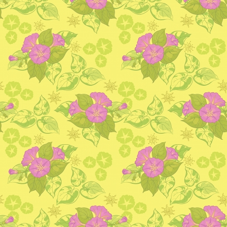 ipomoea: Seamless floral background  lilac and green flowers and leaves on a yellow background  Vector illustration Illustration