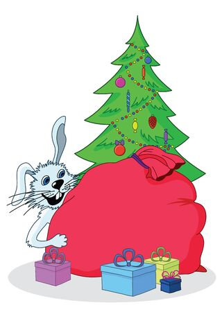 Cartoon  white rabbit, a symbol of the eastern New Year, and Christmas tree with gifts  Vector illustration Vector