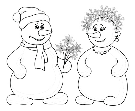 Christmas holiday cartoon, snowballs man and woman with a bouquet of flowers - snowflakes, black contour on white background  Vector illustration Vector