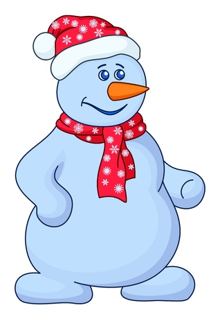 Christmas picture  snowball with a nose-carrot in a red cap and red scarf Vector