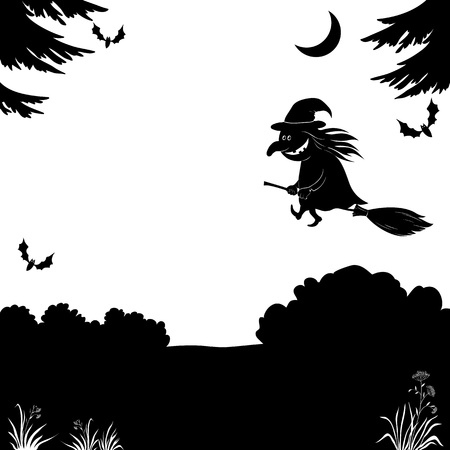 Witch flying on broom over the night forest, the image of a holiday Halloween, black silhouette on white background  Vector illustration Vector