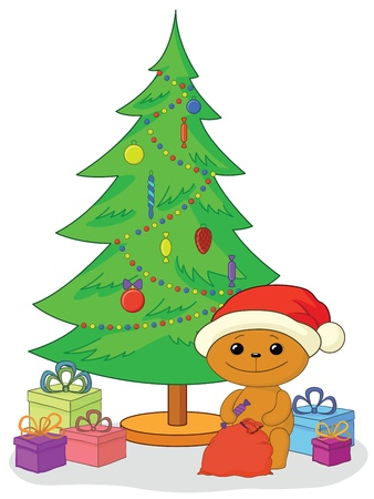 Holiday cartoon, teddy bear Santa Claus with gifts under the Christmas tree  Vector Vector