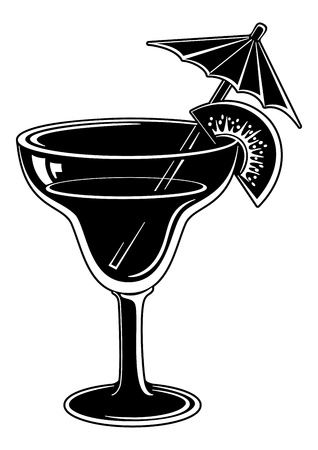 kiwi fruta: Vidrio con la bebida, el kiwi y la paja, pictograma simbólico, negro sobre blanco ilustración vectorial de fondo Vectores