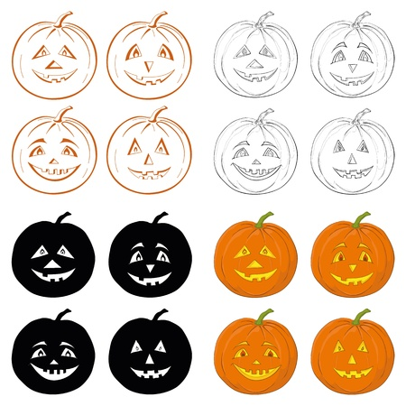 Symbol of the holiday Halloween pumpkins Jack O Lantern on white background, set  icons, shapes, silhouettes, cartoons  Vector Vector