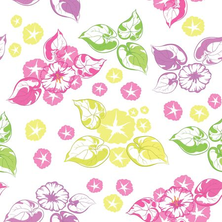 Seamless floral background  colorful flowers and leaves isolated on a white background  Vector illustration Vector