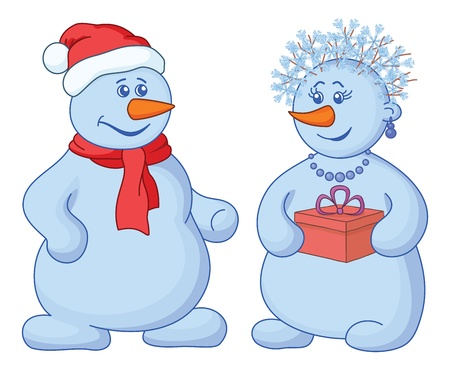 Christmas holiday cartoon, snowballs man and woman with a gift box  Vector Vector