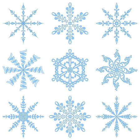Christmas holiday decorating  set blue winter snowflakes on white background  illustration illustration