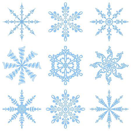 Christmas holiday decorating  set blue winter snowflakes on white background  illustration illustration