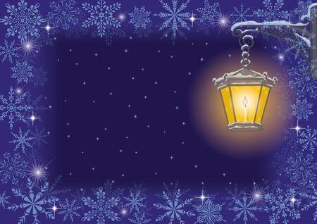 уличный фонарь: Рождественская открытка старинная улица лампа на кронштейне декоративно на фоне звездного неба, с рамой снежинки Иллюстрация