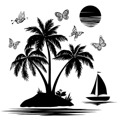 Tropical sea island with palm trees and flowers, ship, butterflies and sun  Set black silhouettes and contours on white background   Illustration