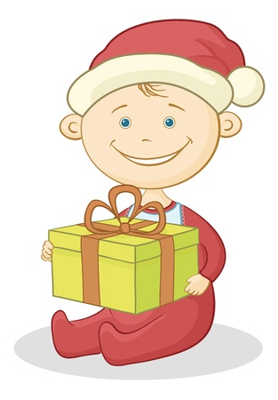 Cartoon baby in a Santa Claus hat with a holiday gift box   Vector
