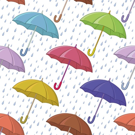 Seamless background, various colorful umbrellas and blue rain drops on white  Vector Stock Vector - 15116516