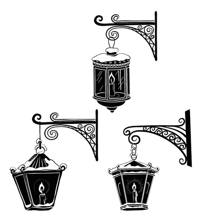 Set vintage street luminescent lanterns covered with snow, hanging on a decorative brackets  Silhouettes  Vector