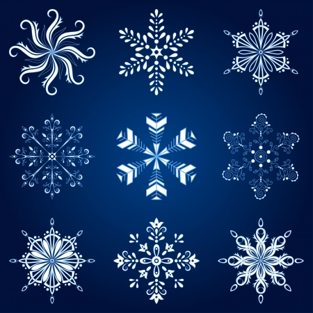 Christmas holiday decorating  set white winter snowflakes on blue background   Vector