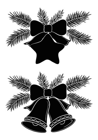 pine tree silhouette: Christmas decorations  bells and star with bows and fir branches, black silhouette on white background   illustration