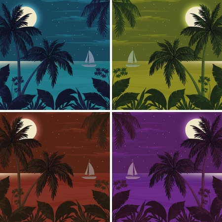Set colorful exotic tropical landscapes with moon night sky, palm trees, flowers and sea with ship