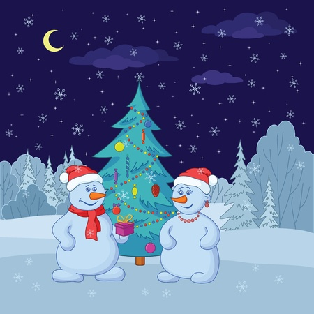 Cartoon, snowmans with holiday gifts under the Christmas tree in winter forest   Vector