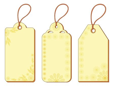 Set yellow and beige labels tags with floral pattern and ropes Stock Vector - 15116601