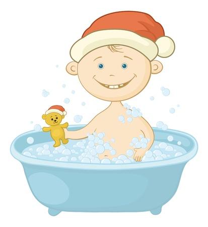 Cartoon, joyeux enfant du Père Noël à laver dans un bain et en jouant avec un ours en peluche