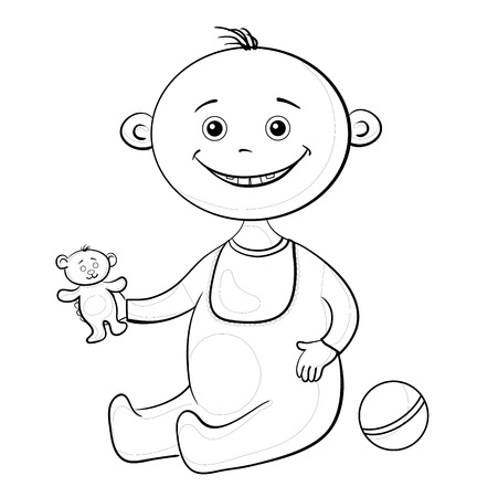 romper: Baby with a toys  teddy bear and a ball, black contour on white background  illustration