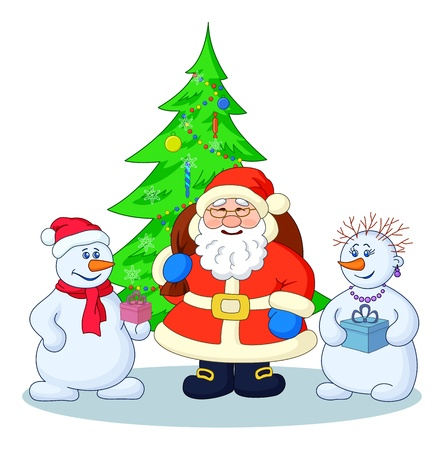 Holiday cartoon  Santa Claus, Christmas tree and snowmans with a gift boxes   illustration Stock Illustration - 15116620