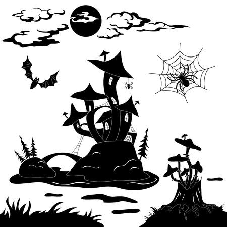 champignon magique: Halloween bande dessin�e paysage magique du ch�teau Illustration